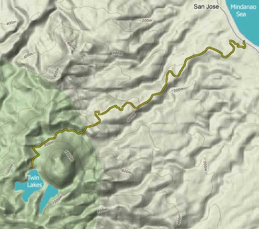 terrain map to Lake Balinsasayao