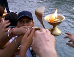 Ganga Aarti (devotional fire ritual) at Parmarth Niketan Ashram