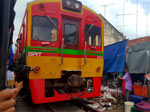 Parting of the Maeklong Railway Market with a Passing Train